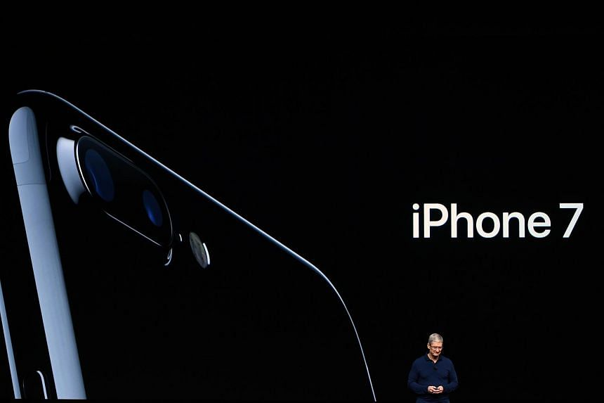 Apple CEO introducing the new iPhone 7 in San Francisco on Sept 7, 2016.