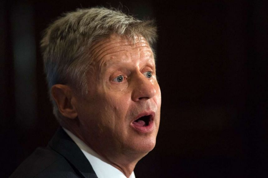 US Libertarian Party presidential candidate Gary Johnson speaking on July 7, 2016, in Washington, DC.