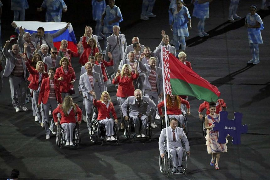 Athletes from Belarus take part in the Paralympic Games opening ceremony on Sept 7, 2016.