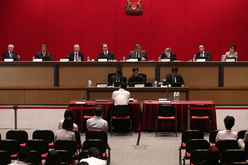 Members of the Constitutional Commission at the first public hearing on the review of th elected presidency, held at the Supreme Court on April 18 2016.