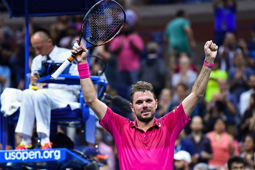 Stan Wawrinka celebrates victory over Juan Martin del Potro of Argentina during their 2016 US Open Men's Singles match in New York on Sept 7, 2016.