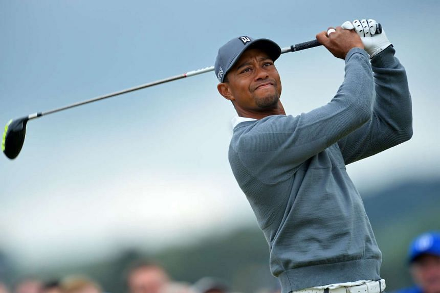 US golfer Tiger Woods in action at the 2015 British Open Golf Championship.