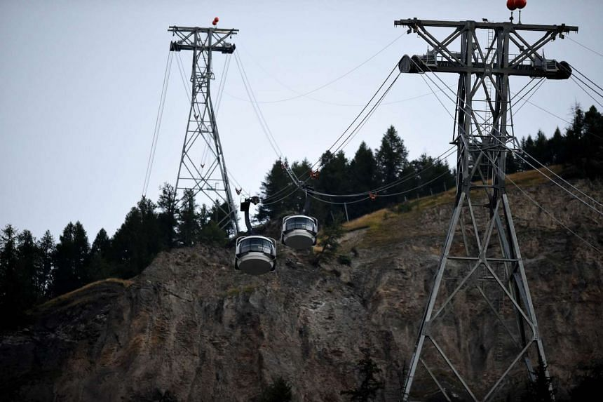 """The Mont-Blanc cable car """"Skyway"""" in Courmayeur on Sept 9."""