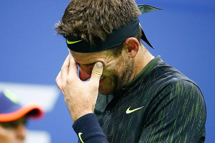 Left: Kei Nishikori celebrating a point against Andy Murray in their US Open quarter-final. The Scot felt that the tide changed when the rain came and the roof was closed, which helped his rival return better. Below: Juan Martin del Potro is moved by