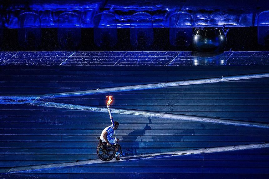 Clockwise from top: Brazilian swimmer Clodoaldo Silva climbs a ramp to light the cauldron to signify the start of the Rio Paralympics at the Maracana Stadium. American extreme wheelchair athlete Aaron Wheelz performs a crowd-pleasing jump from the me