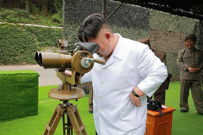 North Korean leader Kim Jong Un at a rocket firing drill in an undated photo. The North has fired 22 ballistic missiles since the beginning of the year, said a South Korean official at a dialogue yesterday.