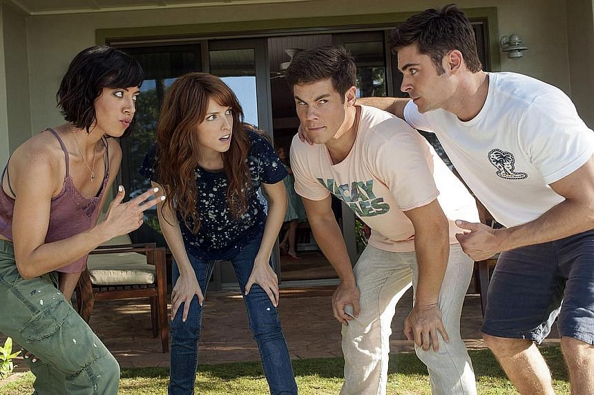 This movie starring (from left) Aubrey Plaza, Anna Kendrick, Adam DeVine and Zac Efron is a dating disaster.