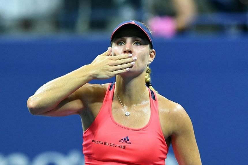 Angelique Kerber celebrates after defeating Caroline Wozniacki during their 2016 US Open Women's Singles semifinal match on Sept 8, 2016.
