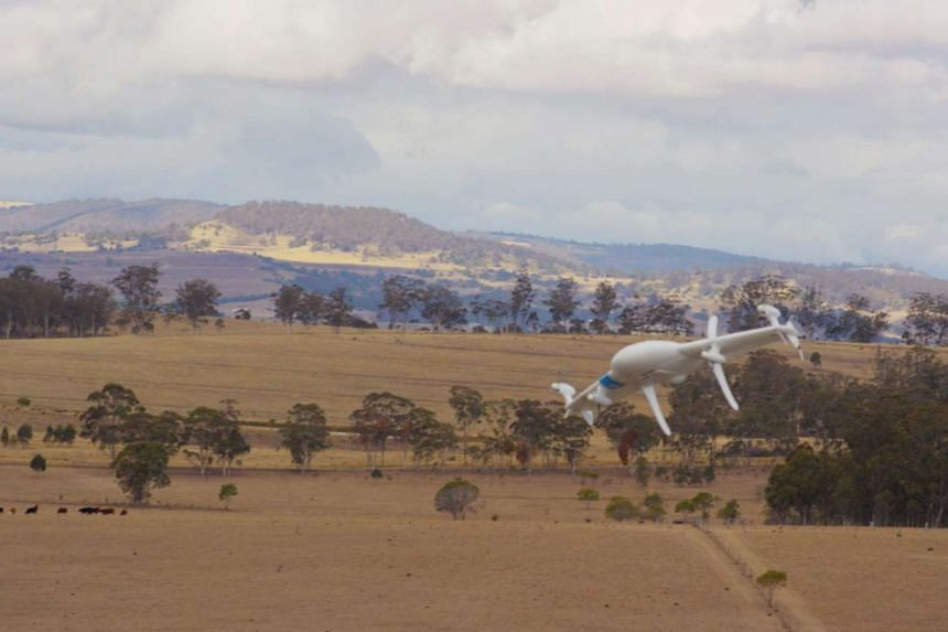 A Project Wing drone, developed by Google's X laboratory division, flies over a farm in Queensland, Australia.