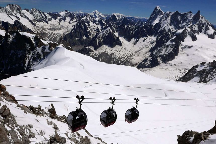 Cable cars across the French Alps in the Chamonix valley.