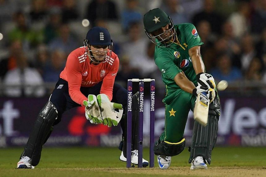 Pakistan's Khalid Latif plays a shot for six runs during the T20 international cricket match between England and Pakistan on Sept 7, 2016.