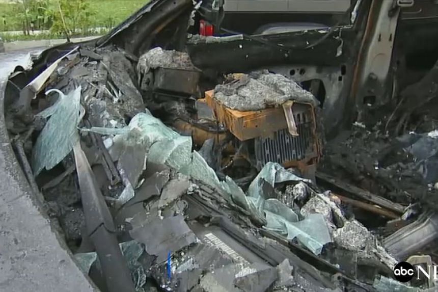 The charred remains of the jeep's dashboard after it caught fire.