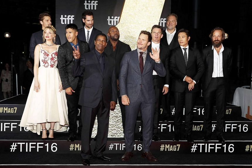 The cast posing on the red carpet for the film The Magnificent Seven during the 41st Toronto International Film Festival, in Toronto, Canada, on Sept 8, 2016.