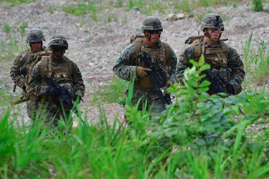 US Marines during a military drill on July 6, 2016. The United States Marine Corps is weighing action against up to 20 personnel at a recruit training depot following the death of a Muslim trainee, officials said on Thursday (Sept 8).