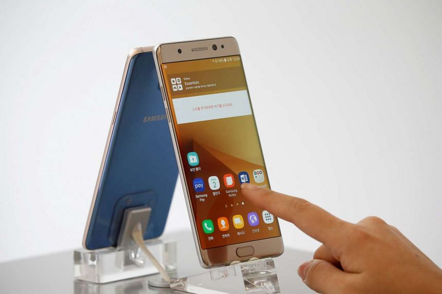 Samsung Electronics' Galaxy Note 7 at its store in Seoul, South Korea on Sept 2.