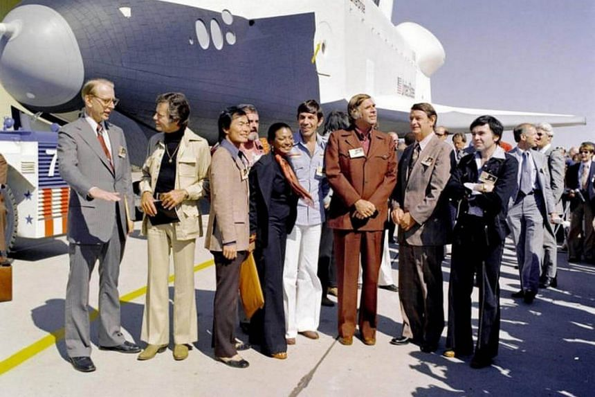 In 1976, Nasa's space shuttle Enterprise was greeted by Nasa officials and cast members from the Star Trek television series.