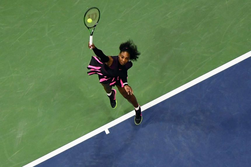 Serena Williams serves against Simona Halep of Romania during their 2016 US Open Women's Singles quarterfinal match at the USTA Billie Jean King National Tennis Center in New York on Sept 7.