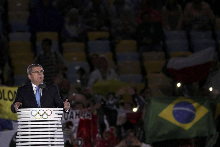 International Olympic Committee President Thomas Bach speaking on stage at the closing ceremony of the 2016 Rio Olympics on Aug 21, 2016.