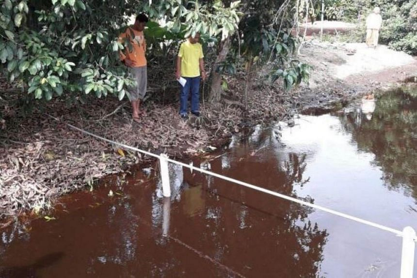 The ditch located some 60m away from the home of the grandfather and toddler in Parit Sulong.