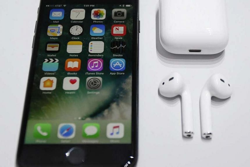 The new Apple iPhone 7 and Apple AirPods during the Apple launch event in San Francisco, California, on Sept 7, 2016.