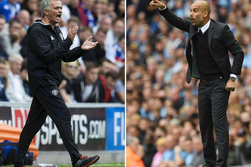 Manchester United's Portuguese manager Jose Mourinho (left) shouting on the touchline during the pre-season friendly football matchon July 16 and Manchester City's Spanish manager Pep Guardiola (right) gesturing from the touchline on Aug 13.