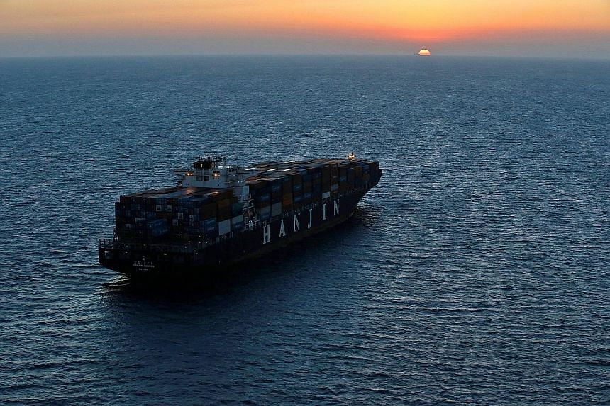 A Hanjin vessel stranded outside the Port of Long Beach in California on Thursday. About US$14 billion (S$19 billion) worth of cargo was stranded by the collapse of the world's seventh-largest container carrier.
