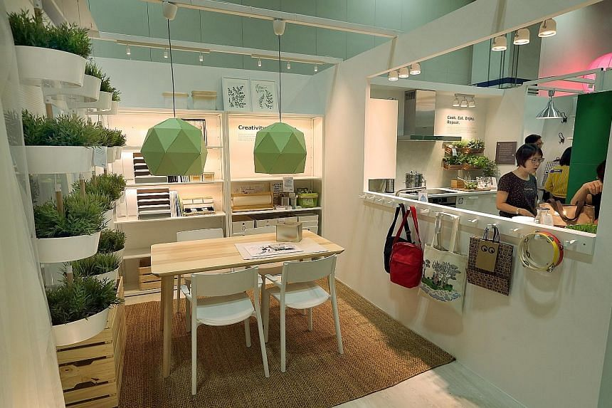 The Ikea sustainable home showcase at Green Living 2016, which opened yesterday at the Marina Bay Sands Convention Centre. The eco-lifestyle event offers more than 40 workshops and seminars for the public, on topics such as terrarium making and organ