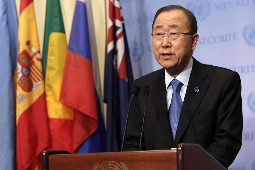 United Nations Secretary-General Ban Ki Moon addresses the media at the United Nations headquarters in New York.