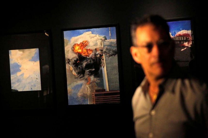 "Works by artist Todd Stone are seen at a preview for the ""Rendering the Unthinkable: Artists Respond to 9/11"" exhibition at the National September 11 Memorial and Museum in New York, Sept 1, 2016."