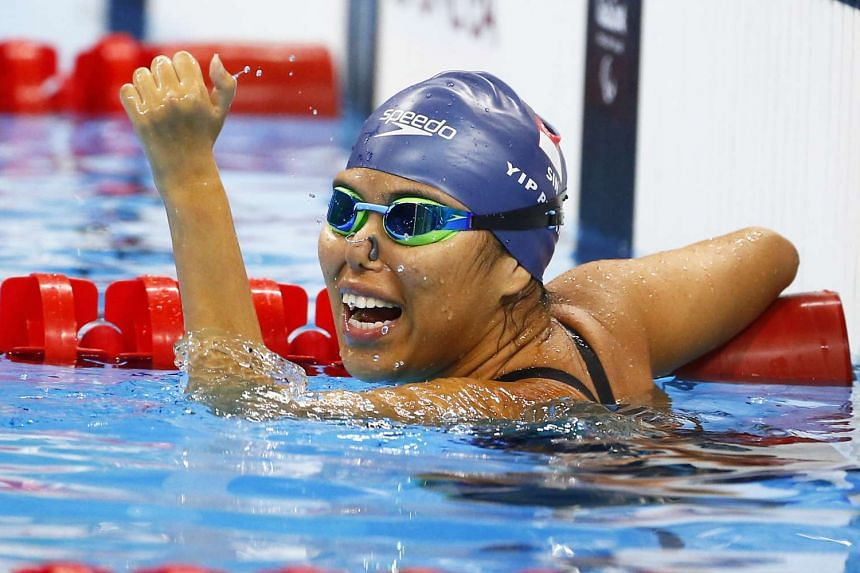 Yip Pin Xiu celebrates winning gold at the 100m backstroke S2 event in the 2016 Rio Paralympics on Sept 10, 2016.