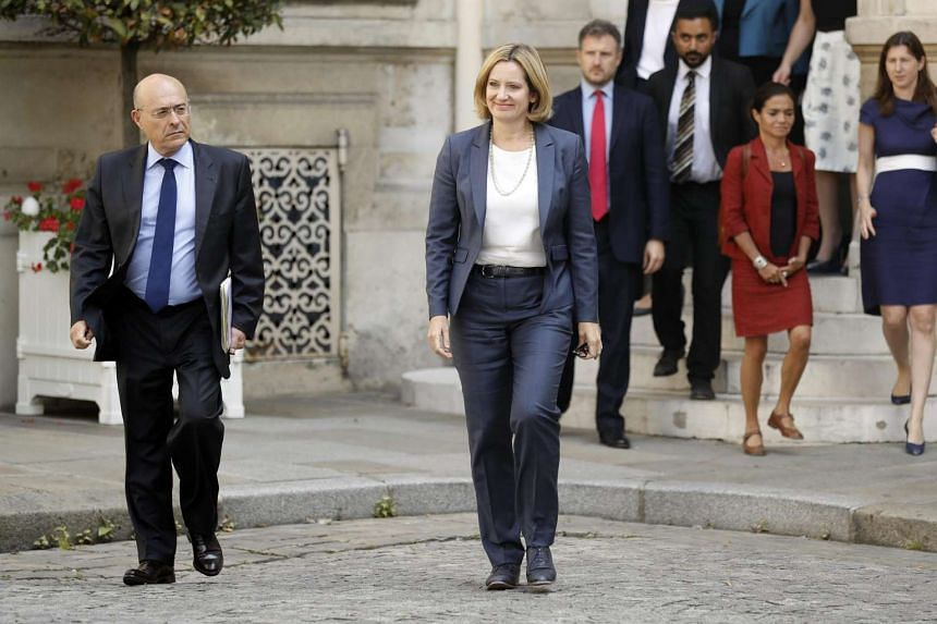 British Home Secretary Amber Rudd arrives at the French Interior Ministry for a meeting with her French counterpart in Paris on Aug 30, 2016. Rudd's visit to France came amid calls for British border controls in Calais to be reviewed.