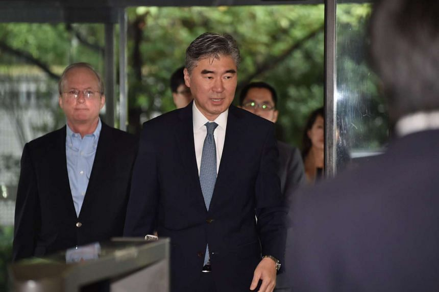 US State Department Special Representative for North Korea Policy Ambassador Sung Kim arrives at the Foreign Ministry to meet with Kenji Kanasugi, Director-General of Asian and Oceanian Affairs Bureau in Tokyo, on Sept 11, 2016. The United States may