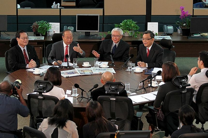 The 2011 presidential candidates - (from left) Mr Tan Kin Lian, Dr Tan Cheng Bock, Dr Tony Tan Keng Yam and Mr Tan Jee Say - at an interview in The Straits Times newsroom in August that year. If higher eligibility criteria are set for the next presid