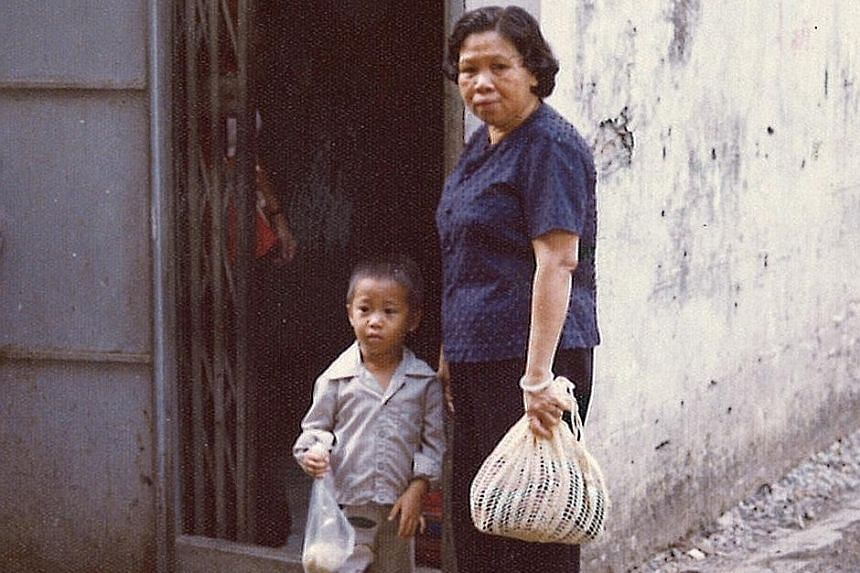 Left: Mr La Chon with his grandmother outside his aunt's house in Bangkok. After escaping Cambodia by boat, they ended up in a refugee camp in Thailand where they lived from 1977 to 1979. Right: Mr La Chon with his father Patrick, older brother Rolan