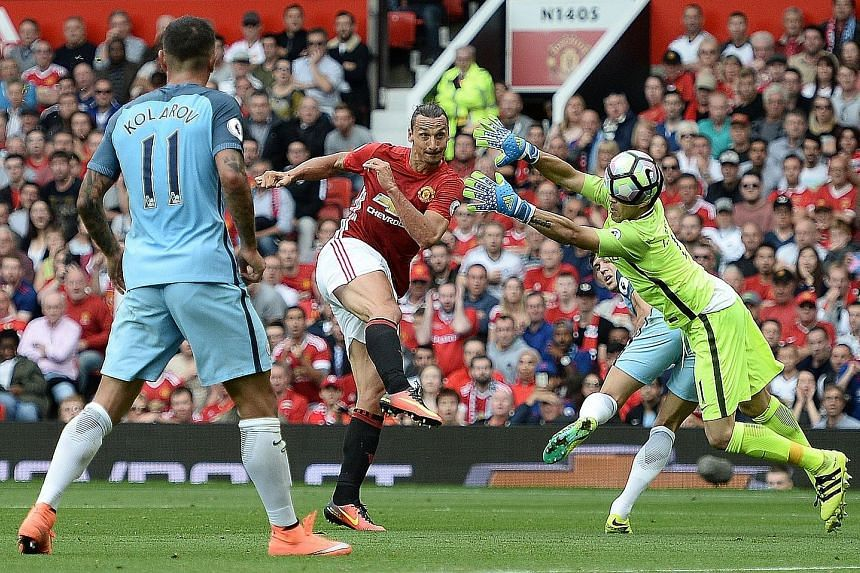 Manchester United striker Zlatan Ibrahimovic volleying past Manchester City's debutant Claudio Bravo, after an error by the goalkeeper, to pull one back for his side. Ultimately, the Chilean was spared his blushes after City ran out 2-1 winners.