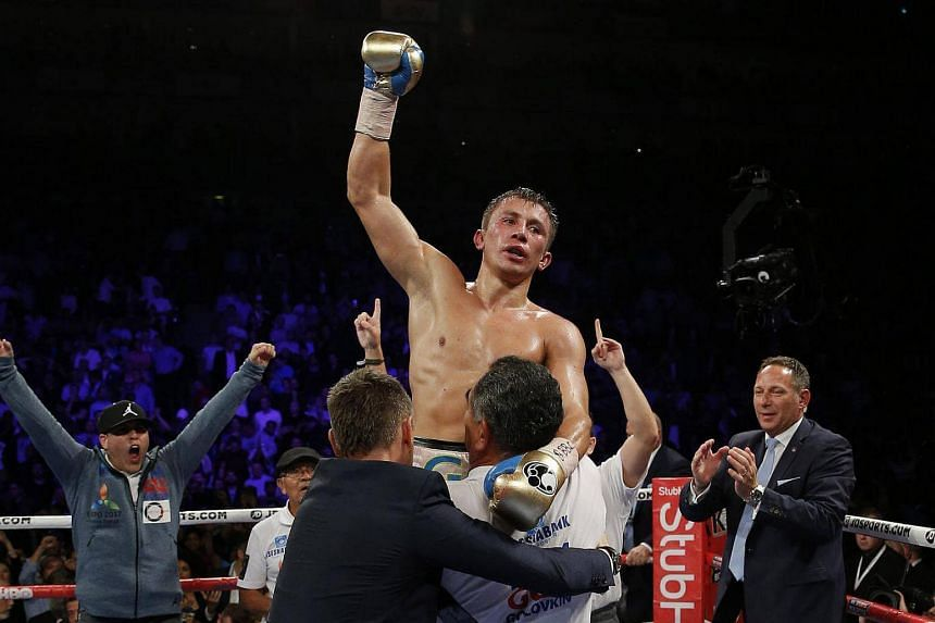 Gennady Golovkin celebrates his win against Kell Brook.