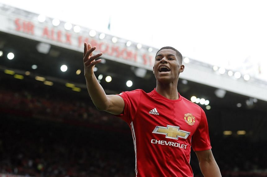 Manchester United's Marcus Rashford during their match against Manchester City at Old Trafford on Sept 19, 2016.