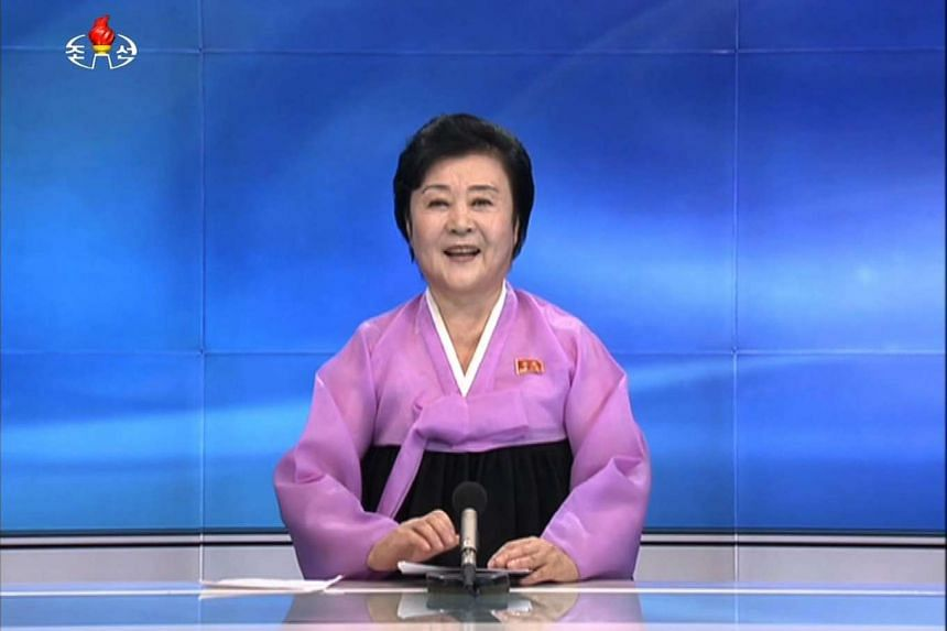 This screen grab taken from North Korean broadcaster KCTV in Pyongyang on Sept. 9 shows KCTV presenter Ri Chun-Hee officially announcing that the country successfully tested a nuclear warhead earlier in the day.