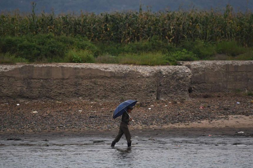 A North Korean man walks on the bank of the Yalu river near the North Korean town of Sinuiju, on Sept 10, 2016. The death toll from severe flooding in the north-east of North Korea has risen to 133, the UN said.