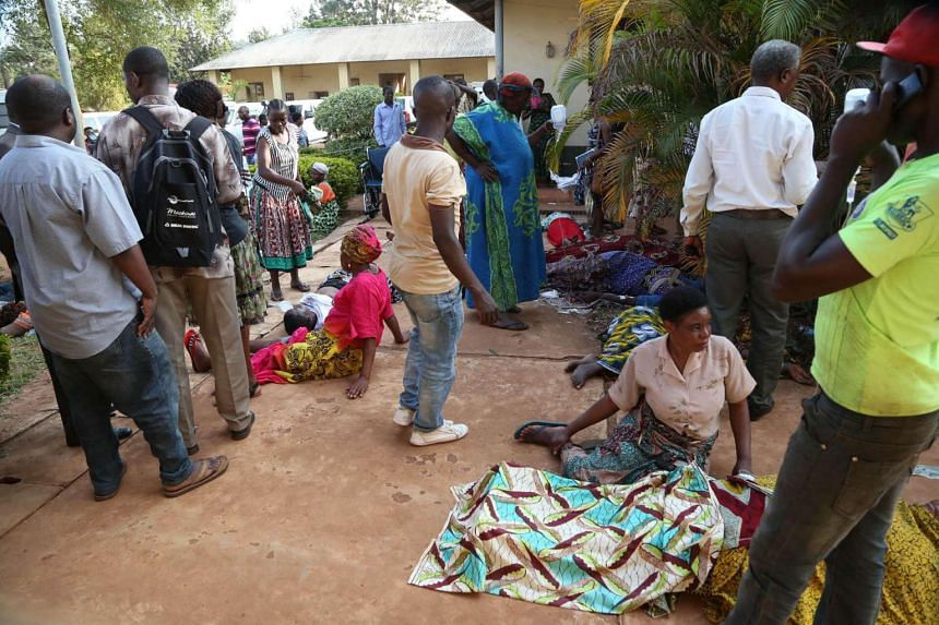 Victims of the earthquake waiting for treatment at the Bukoba Referral Hospital, north-west Tanzania, on Sept 10, 2016.