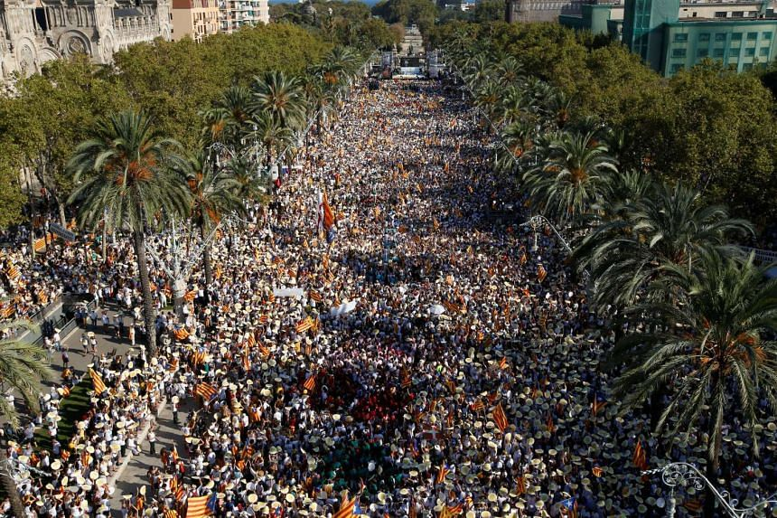 Hundreds of thousands of Catalans took to the streets for a pro-independence demonstration on Sept 11, 2016, in Barcelona on the National Day of Catalonia.