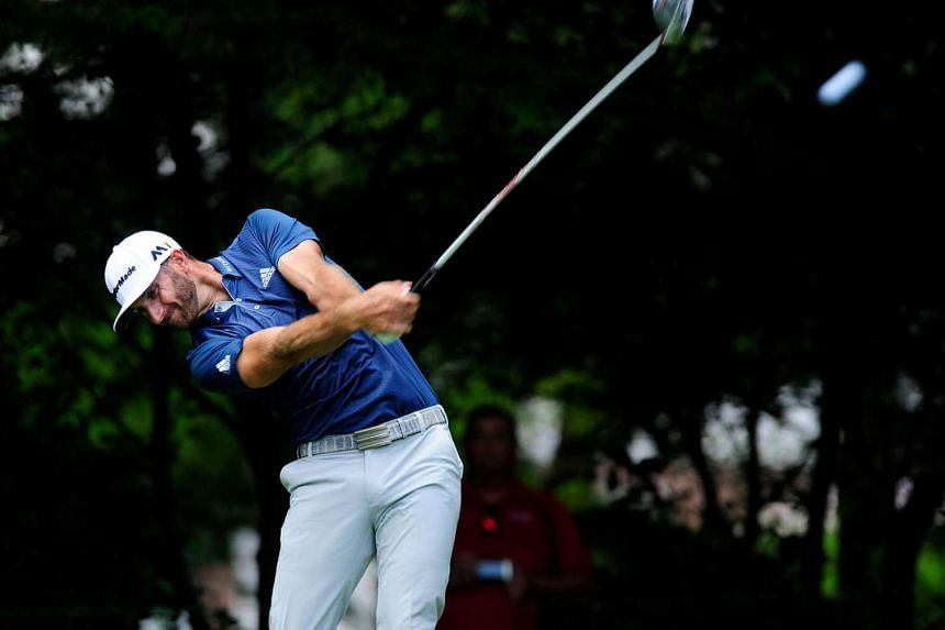 Dustin Johnson hits his tee shot on the second hole during the final round of the BMW Championship at Crooked Stick GC.