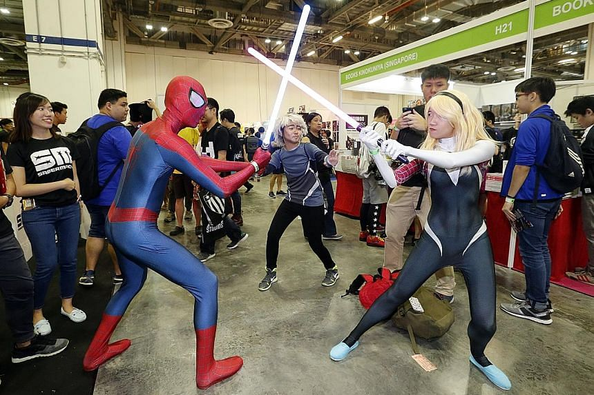 Spider-Man met his match in Spider-Gwen at the Singapore Toy, Game & Comic Convention last weekend.