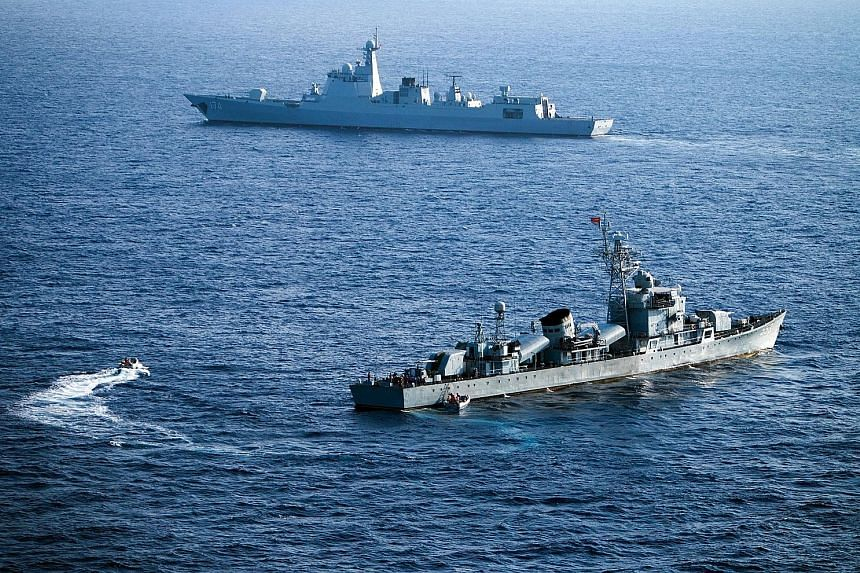 China's South Sea Fleet during a drill in the South China Sea in May. China and Russia will hold joint naval exercises in the South China Sea starting today.