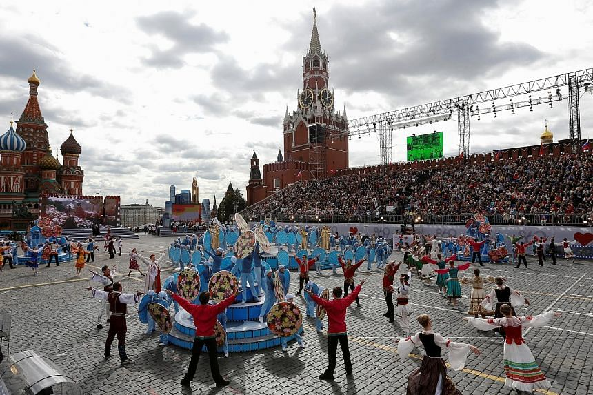 Artists performing during celebrations at Red Square for Moscow's 869th birthday on Saturday. The city was estimated to have spent more than half a billion roubles (S$10.5 million) for more than 1,000 events over the weekend, reported Moscow Times.