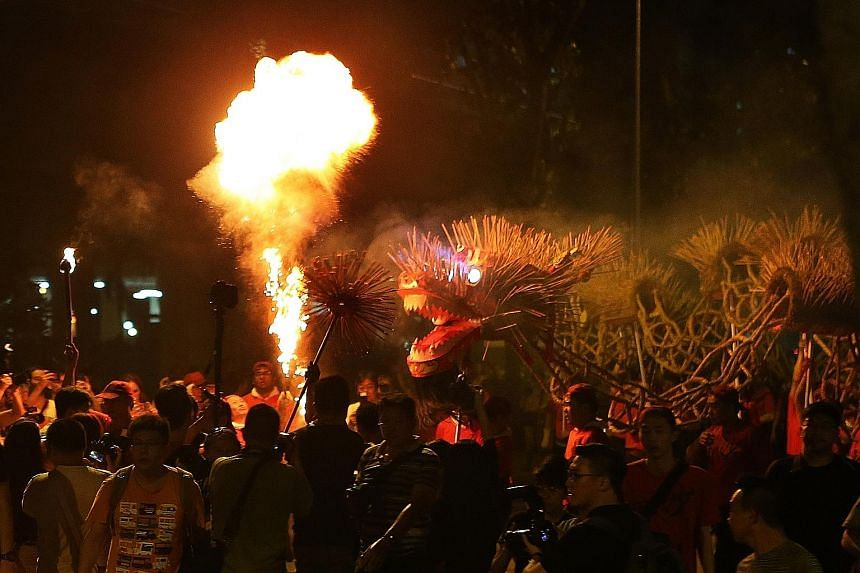 A 45m-long fire dragon danced its way through the smoke last night to celebrate the 150th anniversary of Sar Kong Mun San Fook Tuck Chee temple in Kallang. Weighing 100kg, the plaited straw dragon was filled with lit joss sticks and wielded by the te