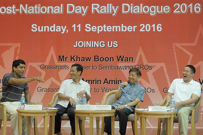 Sembawang GRC MPs (from far left) Vikram Nair, Ong Ye Kung, Khaw Boon Wan and Amrin Amin at the post-National Day Rally dialogue for youth, which covered topics such as race, terrorism and the economy. Also discussed were proposed changes to the elec