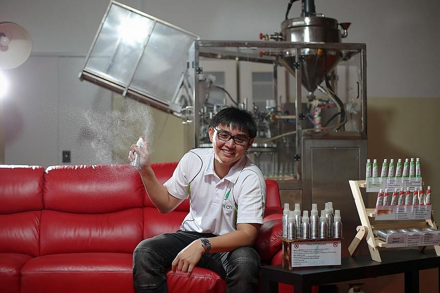 Mr Theodore Khng, an accountant by training, started his firm, Theo10, to hawk his homemade balms and tried mixing his own repellent nine months ago. He now churns out 600 bottles of the 130ml sprays each day.