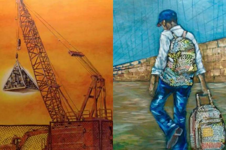 Marc Zara's painting Payload (left) and Jasmin Orosa's The Long Road Ahead.