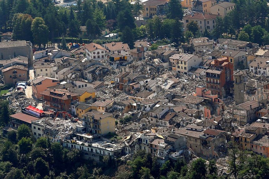 A general view after earthquake that levelled the town in Amatrice, central Italy on Sept 1, 2016.